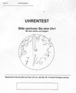 Anzeige des Untersuchungsblattes, auf dem Frau B. die Ziffern einer Uhr eintragen sollte.